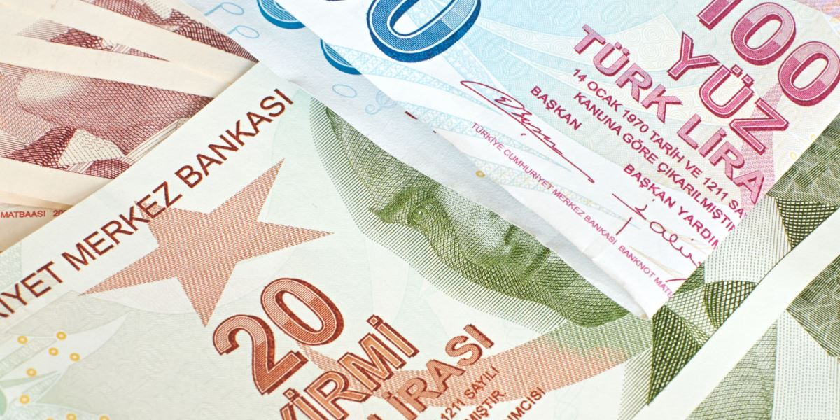 25816697 - turkish currency, a close up of mixed lira notes