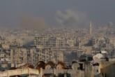 Suriye ordusuna ait savaş uçakları, Halep'in doğu kesimlerinde muhaliflerin kontrolündeki Sukkeri semtine saldırdı. Saldırı sonucu bölgeden dumanlar yükseldi. ( İbrahim Ebu Leys - Anadolu Ajansı )