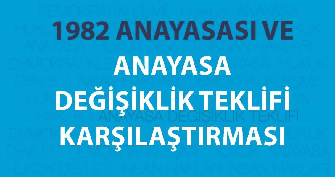 1982 Anayasası ve Anayasa Değişiklik Teklifi Karşılaştırması