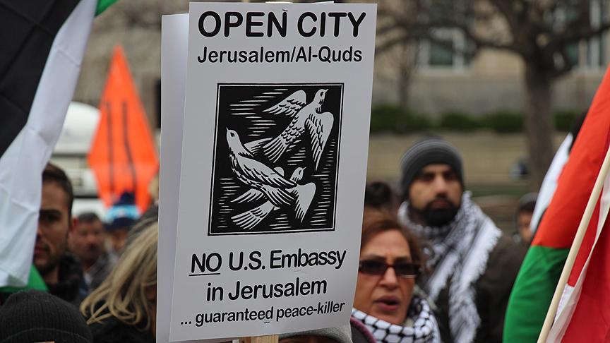 Kanada - ABD'nin Kudüs kararı protestosundan bir kare