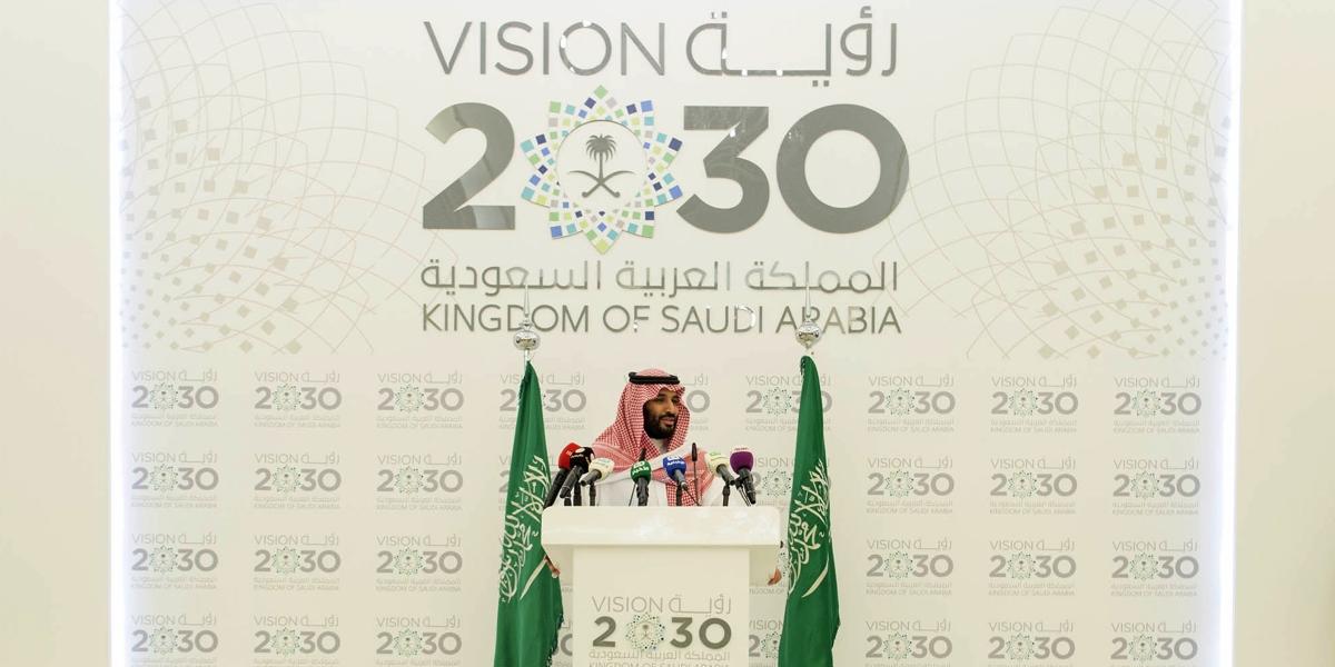 Suudi Arabistan İkinci Veliaht Prensi ve Savunma Bakanı Muhammed bin Selman, başkent Riyad'taki kraliyet divanında basın toplantısı düzenledi. ( Pool / Bandar Algaloud - Anadolu Ajansı )