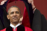 US President Barack Obama receives an honorary degree during the commencement ceremony for Rutgers University at High Point Solutions Stadium in Piscataway, New Jersey, May 15, 2016. / AFP PHOTO / SAUL LOEB