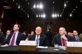 """(Soldan sağa) ABD Ulusal Güvenlik Ajansı'nın (NSA) başkanı Michael Rogers, ABD Federal Soruşturma Bürosu (FBI) Başkanı James Comey, ABD Ulusal İstihbarat Direktörü James Clapper, CIA Başkanı John Brennan, Savunma İstihbarat Ajansı Direktörü Vincent Stewart, ABD Senatosunun Silahlı Hizmetler Komitesinde """"Dünya genelindeki tehlikeler"""" başlıklı oturuma katıldı. ( Samuel Corum - Anadolu Ajansı )"""
