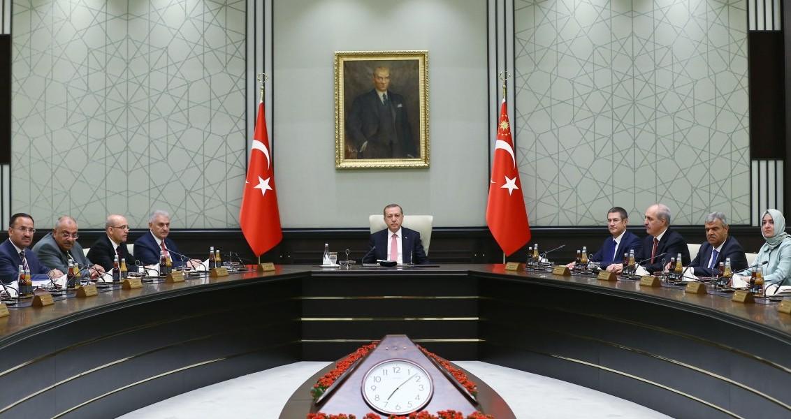 Bakanlar Kurulu, Cumhurbaşkanı Recep Tayyip Erdoğan başkanlığında Cumhurbaşkanlığı Külliyesi'nde toplandı. ( Kayhan Özer - Anadolu Ajansı )