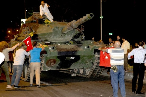 ANKARA, TURKEY - JULY 16: People react against military coup attempt, in Ankara, Turkey on July 16, 2016. ( Gökhan Balcı - Anadolu Agency )