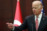 US Vice President Joe Biden gestures during a joint press conference with the Turkish Prime Minister following their meeting on August 24, 2016 at the Cankaya Palace in Ankara. US Vice President Joe Biden on August 24, 2016 said Washington had made clear that pro-Kurdish forces in Syria must not to cross west of the Euphrates River, a prospect alarming for Turkey. His comments come after Turkish troops launched an operation inside Syria to cleanse the key town of Jarabulus from Islamic State (IS) jihadists.   / AFP PHOTO / ADEM ALTAN