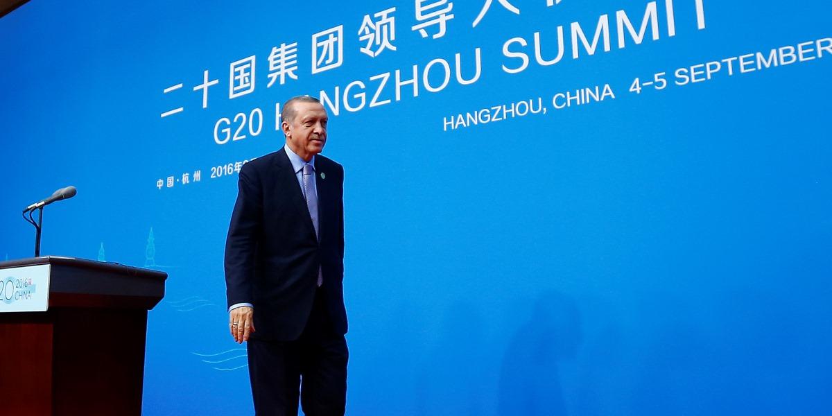 Cumhurbaşkanı Recep Tayyip Erdoğan, G20 Liderler Zirvesi için bulunduğu Çin'in Hangcou kentinde basın toplantısı düzenledi. ( Mehmet Ali Özcan - Anadolu Ajansı )