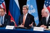 Uluslararası Suriye Destek Grubu Toplantısı Almanya'nın Münih kentinde yapıldı. Toplantı sonrası, ABD Dışişleri Bakanı John Kerry (ortada), Rusya Dışişleri Bakanı Sergey Lavrov (solda) ve BM Suriye Özel Temsilcisi Staffan de Mistura (sağda), basın toplantısı düzenledi. ( Lukas Barth - Anadolu Ajansı )