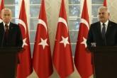 Başbakan Binali Yıldırım ile MHP Genel Başkanı Devlet Bahçeli'nin Çankaya Köşkü'nde basına kapalı gerçekleşen görüşmesi sona erdi. Yıldırım ve Bahçeli görüşmenin ardından ortak basın toplantısı düzenledi. ( Başbakanlık / Mustafa Aktaş - Anadolu Ajansı )