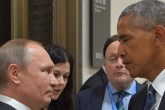 (FILES) This file photo taken on September 5, 2016 shows Russian President Vladimir Putin (L) meeting with his US counterpart Barack Obama on the sidelines of the G20 Leaders Summit in Hangzhou. Russia on December 30, 2016 eyed retaliatory measures against the US after President Barack Obama kicked out dozens of suspected intelligence agents and imposed sanctions in a furious dispute over alleged election interference. The barrage of punishment against Moscow over cyberattacks dragged ties between Russia and the United States -- already at their worst since the Cold War -- to a fresh low less than a month ahead of President-elect Donald Trump taking charge. / AFP PHOTO / SPUTNIK / ALEXEI DRUZHININ