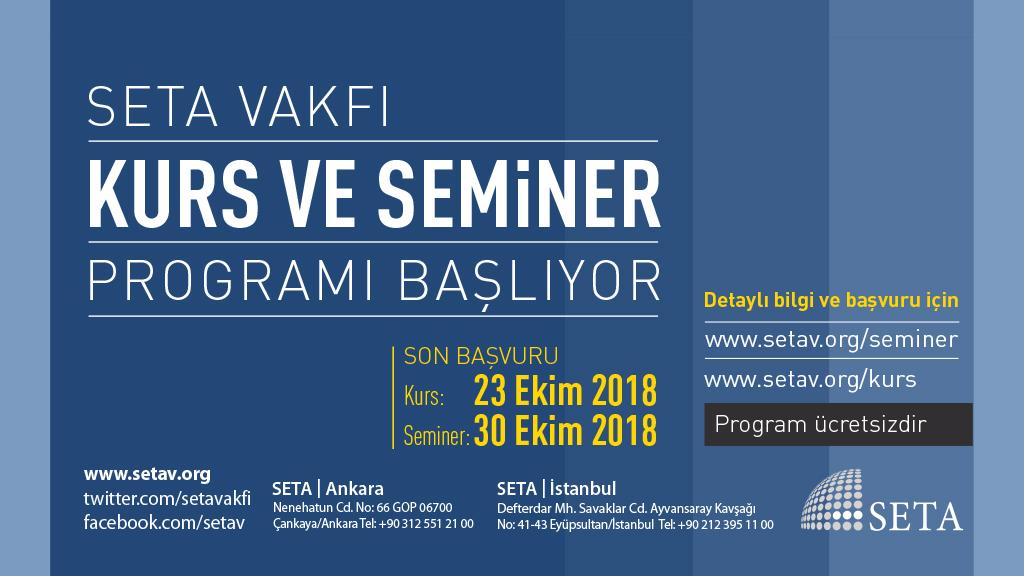 SETA Kurs ve Seminer Programı Başlıyor