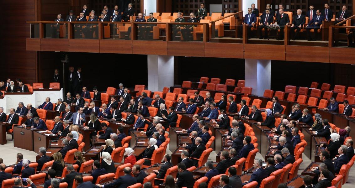 Cumhurbaşkanı Recep Tayyip Erdoğan, TBMM Genel Kurulu'ndaki 23 Nisan Ulusal Egemenlik ve Çocuk Bayramı özel oturumunu izlemek üzere, Meclise geldi. Cumhurbaşkanı Erdoğan, özel oturumu izlemek üzere, Genel Kurul'daki locasına geçti. ( Cumhurbaşkanlığı / Murat Çetinmühürdar - Anadolu Ajansı )