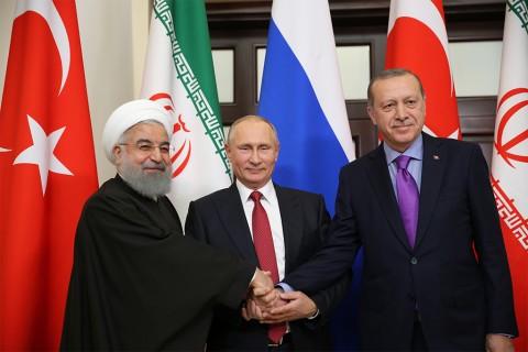 Cumhurbaşkanı Recep Tayyip Erdoğan - Rusya Devlet Başkanı Vladimir Putin ve İran Cumhurbaşkanı Hasan Ruhani Soçi'de Suriye konulu zirve toplantsında