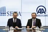 SETA Vakfı Genel Koordinatörü Prof. Dr. Burhanettin Duran ile AA Yönetim Kurulu Başkanı ve Genel Müdürü Şenol Kazancı