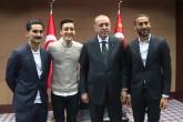 Cumhurbaşkanı Recep Tayyip Erdoğan, Mesut Özil, İlkay Gündoğan ve Cenk Tosun'u kabul etti.