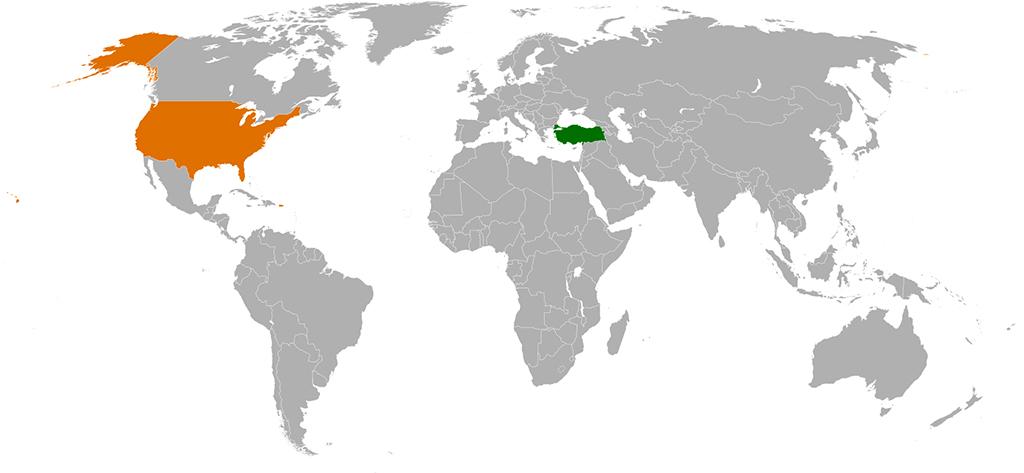 Türkiye - ABD - Dünya haritası