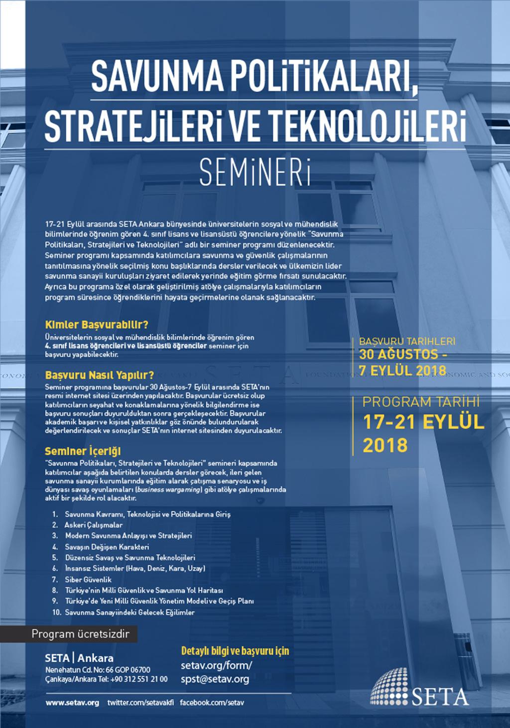 SETA Savunma Politikaları, Stratejileri ve Teknoloji Semineri Başlıyor