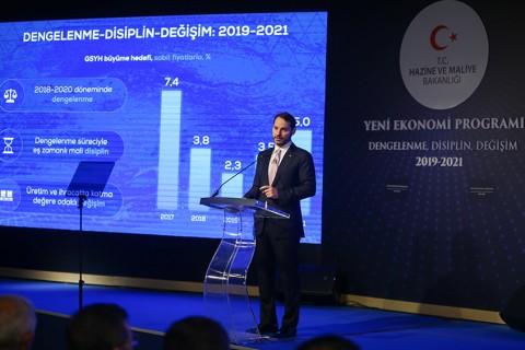 """Hazine ve Maliye Bakanı Berat Albayrak, Cumhurbaşkanlığı Dolmabahçe Çalışma Ofisi'nde düzenlediği basın toplantısında, """"Dengelenme, Değişim ve Disiplin"""" sloganıyla hazırlanan Yeni Ekonomi Programı'nı (2019-2021) açıkladı. ( Emrah Yorulmaz - Anadolu Ajansı )"""