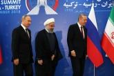 TEHRAN, IRAN - SEPTEMBER 7: President of Turkey Recep Tayyip Erdogan (R), President of Iran Hassan Rouhani (C) and President of Russia Vladimir Putin (L) attend the trilateral summit between Turkey, Iran and Russia on September 7, 2018 in Tehran, Iran.