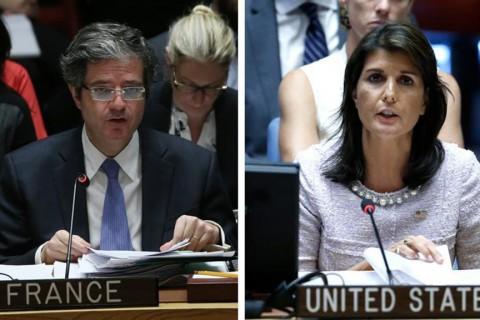 Fransa'nın Birleşmiş Milletler (BM) Daimi Temsilcisi François Delattre ve ABD'nin BM Daimi Temsilcisi Nikki Haley