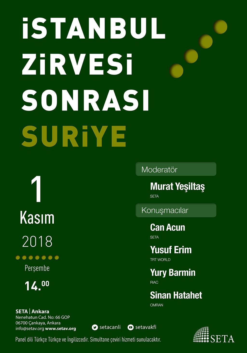 Panel: İstanbul Zirvesi Sonrası Suriye