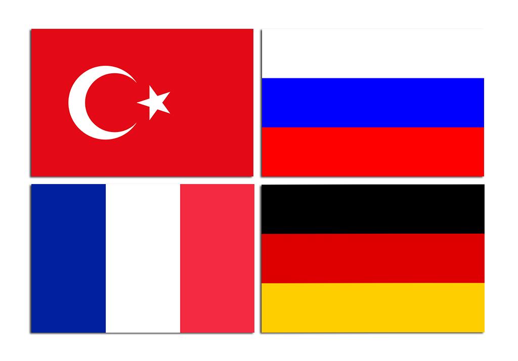 Türkiye, Almanya, Rusya, Fransa Bayrakları
