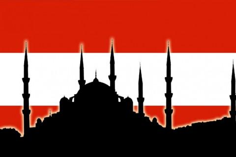 Avusturya Bayrağı üzerine Sultan Ahmet Camii silüeti