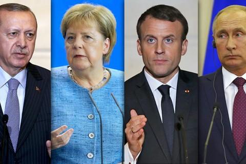 Dörtlü zirvenin liderleri: Erdoğan, Merkel, Macron ve Putin