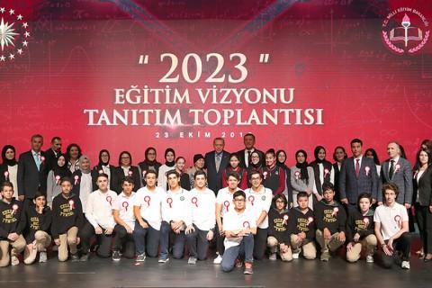 23 Ekim 2018 | Cumhurbaşkanı Recep Tayyip Erdoğan, Beştepe Millet Kongre ve Kültür Merkezinde düzenlenen Milli Eğitim Bakanlığı 2023 Eğitim Vizyonu Tanıtım Toplantısı'na katıldı.