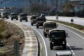29 Aralık 2018 | Suriye sınırındaki birliklere takviye amacıyla bir süre önce Hatay'a getirilen zırhlı personel taşıyıcıları ile malzeme taşıyan askeri araçlar, Kilis'e doğru hareket etti. (AA)