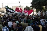 Suriye'de Türk Bayraklarıyla sevinç