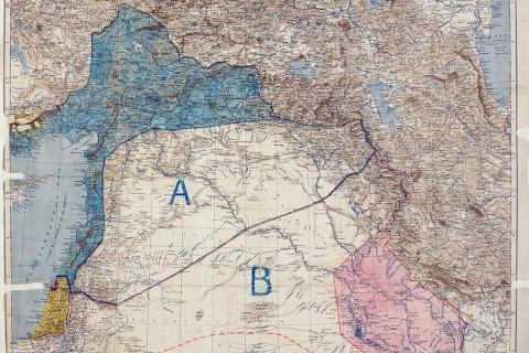 8 Mayıs 1916'da imzalanan Sykes Picot Anlaşması Haritası