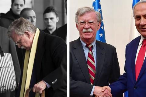 Beyaz Saray Ulusal Güvenlik Danışmanı John Bolton (solda) ile İsrail Başbakanı Binyamin Netanyahu (sağda)