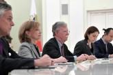 Beyaz Saray'ın Ulusal Güvenlik Danışmanı John Bolton (ortada) ve heyeti