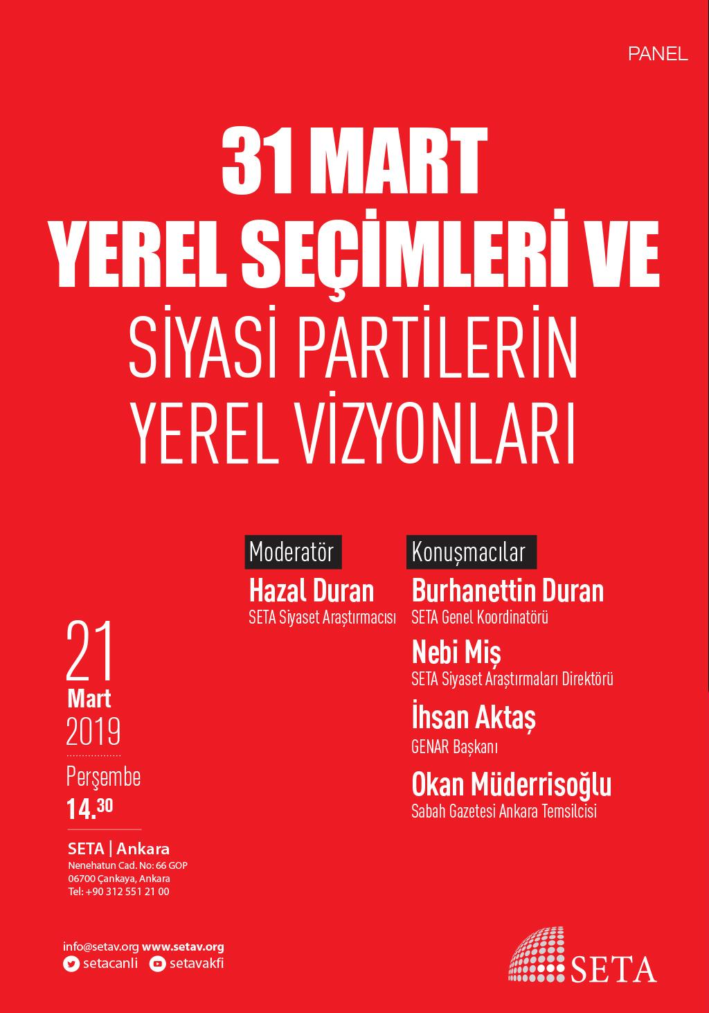 Panel: 31 Mart Yerel Seçimleri ve Siyasi Partilerin Yerel Vizyonu