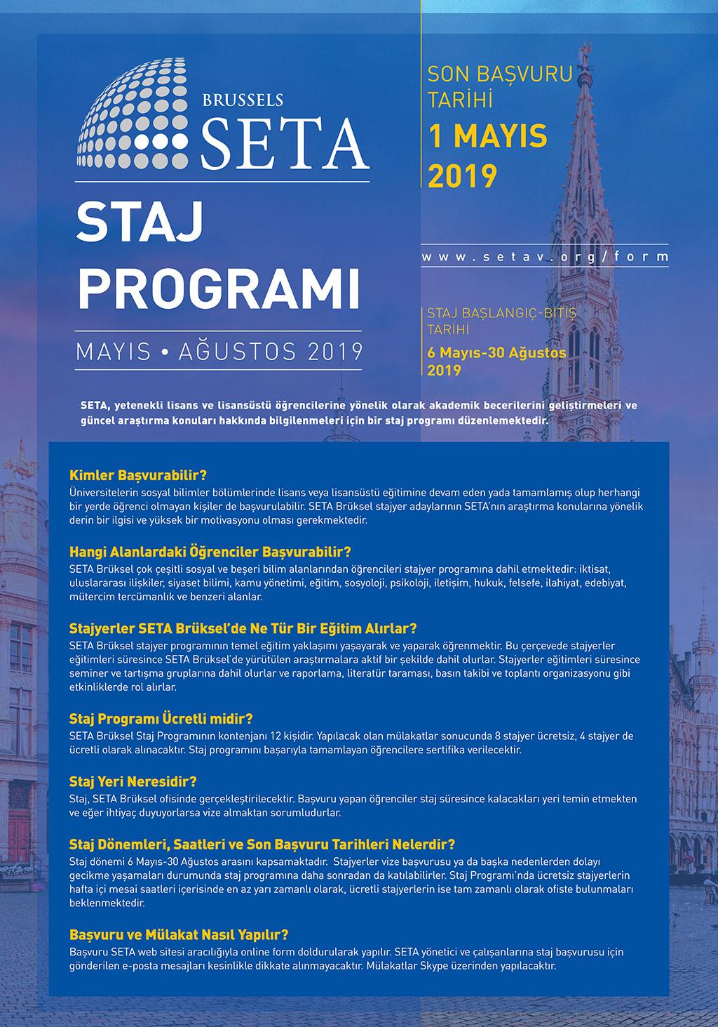 SETA Brüksel 2019 Yaz Dönemi Staj Programı Başlıyor