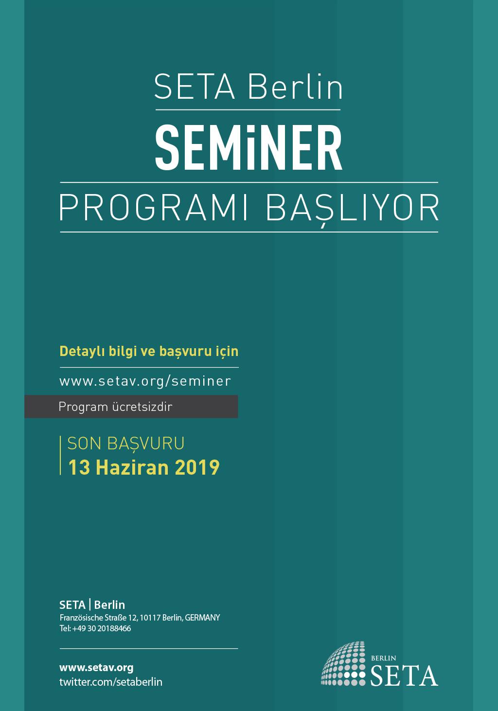 SETA Berlin Yaz 2019 Seminer Programı Başlıyor