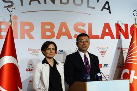 1 Nisan 2019 | CHP İstanbul Büyükşehir Belediye Başkan Adayı Ekrem İmamoğlu, 2. Bölge Koordinasyon Merkezi'nde, CHP İl Başkanı Canan Kaftancıoğlu ile yaptığı basın açıklamasında. (AA)