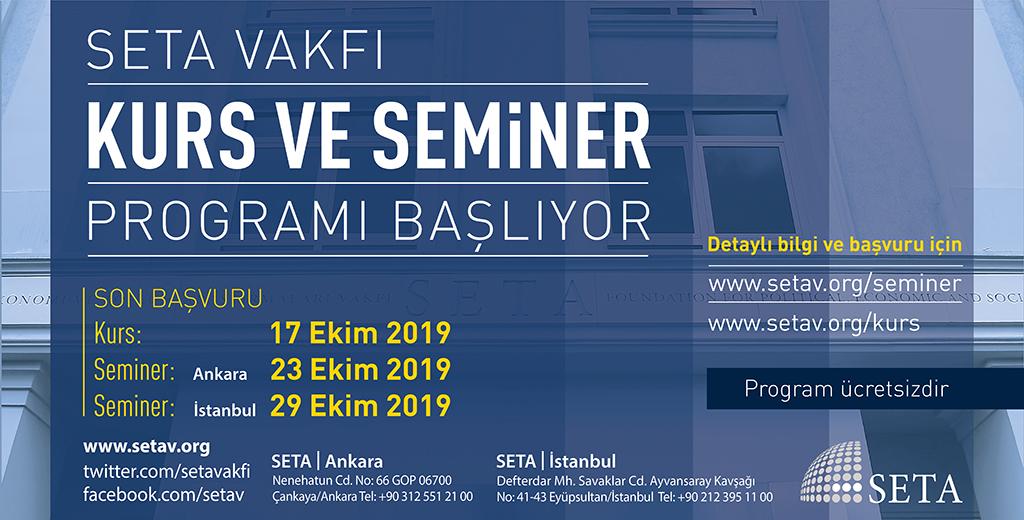 SETA İstanbul 2019 Güz Dönemi Seminer Programı Başlıyor