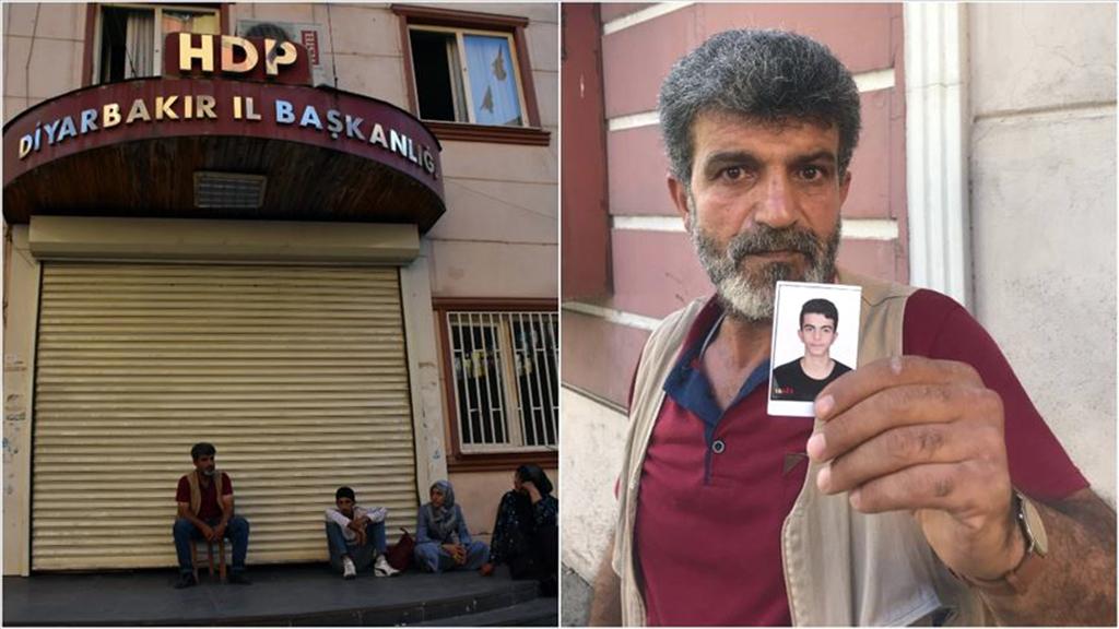 """Diyarbakır'da çocuklarının dağa kaçırıldığını iddia eden annelerin HDP önündeki eylemine katılan baba Begdaş, """"Ben ölüm orucuna giriyorum, kimse de beni durduramaz. Ya oğlum ya ölüm."""" dedi."""