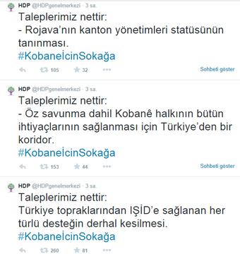 Görsel 1. HDP'nin Resmi Twitter Hesabından Yapılan Paylaşımlar