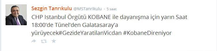 Görsel 3. CHP'nin Kobani Eylemlerine Destek Çağrısı