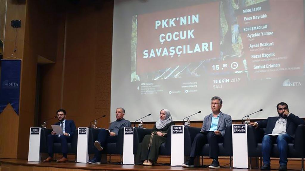 """Siyasi, Ekonomik ve Sosyal Araştırmalar Vakfı'nın (SETA) düzenlediği """"PKK'nın Çocuk Savaşçıları"""" panelinde bu konuda kitap çıkaran yazar ve akademisyenler ile """"Diyarbakır Anneleri"""" olarak bilinen çocuklarını kurtarmak için Diyarbakır HDP İl Binası önünde eylem yapan kadınlardan biri konuştu."""