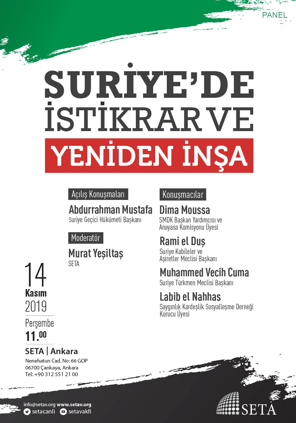 Panel: Suriye'de İstikrar ve Yeniden İnşa
