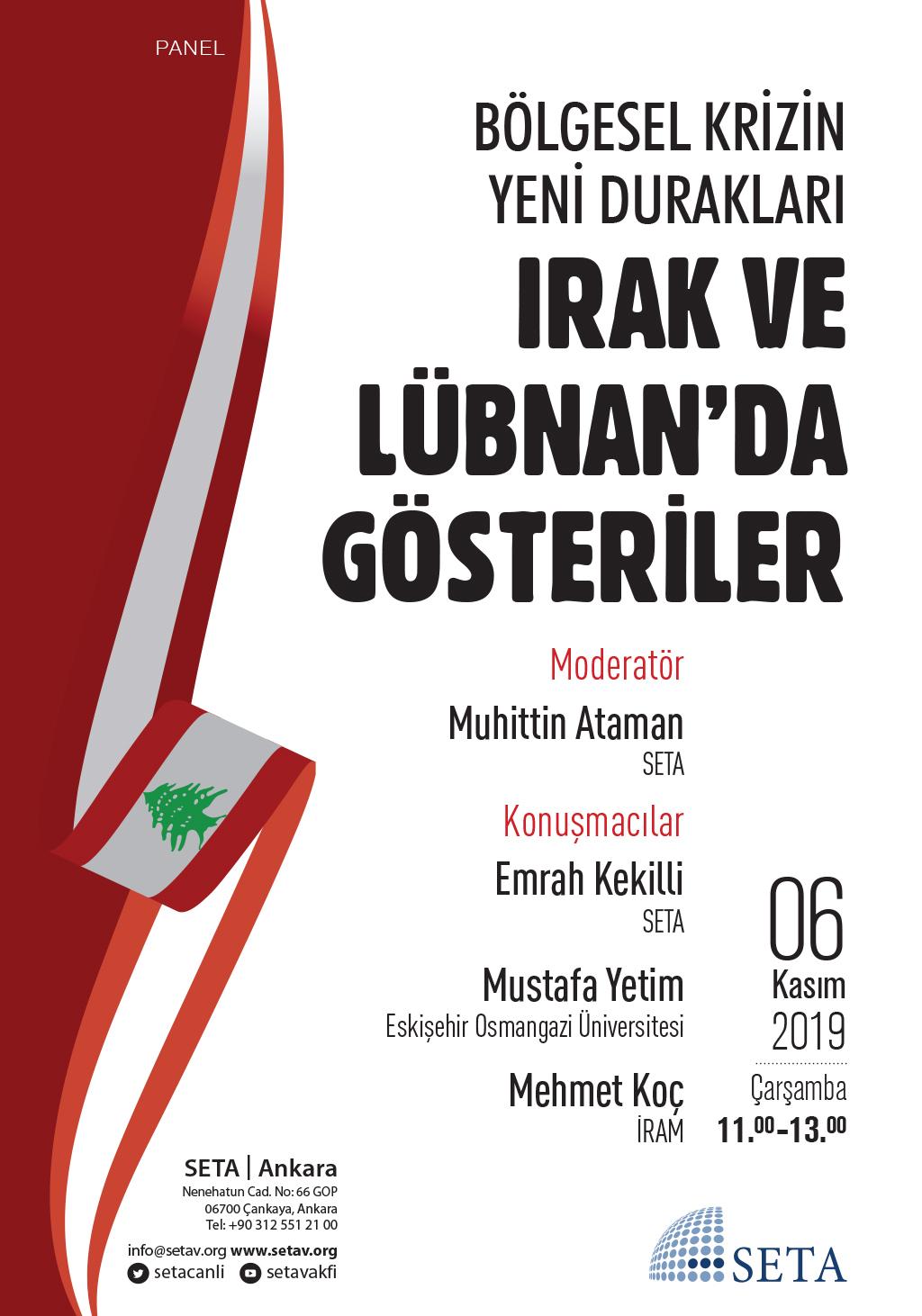 Panel: Bölgesel Krizin Yeni Durakları | Irak ve Lübnan'da Gösteriler