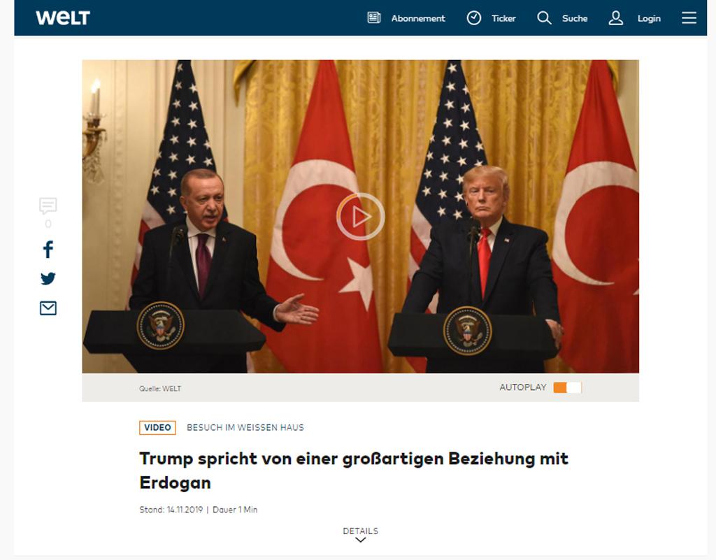 Trump Erdoğan ile harika bir ilişki içinde olduğunu söylüyor | Die Welt