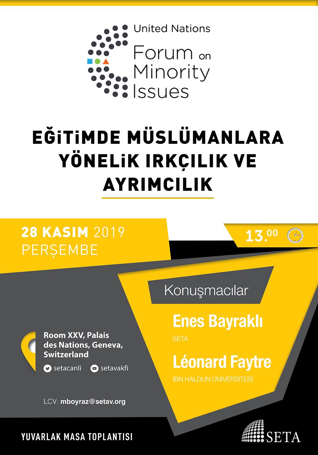 """Yuvarlak Masa Toplantısı: """"Eğitimde Müslümanlara Yönelik Irkçılık ve Ayrımcılık"""""""