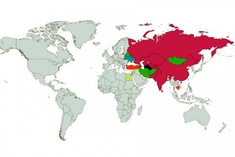 Şanghay İşbirliği Örgütü'ne üye olan ülkeler: Çin, Hindistan, Kazakistan, Kırgızistan, Özbekistan, Pakistan, Rusya, Tacikistan. Gözlemci ülkeler: Afganistan, Belarus, İran, Moğolistan. Diyalog ortakları: Türkiye, Azerbaycan, Ermenistan, Kamboçya, Nepal, Sri Lanka. Destekçiler: Güneydoğu Asya Uluslar Birliği (ASEAN), Bağımsız Devletler Topluluğu (BDT), Türkmenistan.