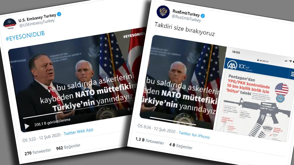 ABD ve Rus Büyükelçiliklerinin Türkiye Tweet'leri