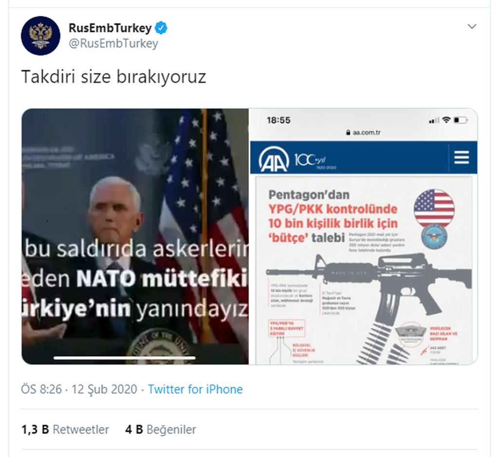 Rus Büyükelçiliği'nin Türkiye tweeti: https://twitter.com/RusEmbTurkey/status/1227645097879179264